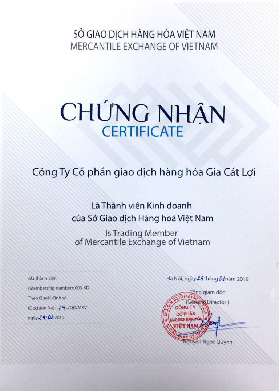 Giấy chứng nhận của Sở Giao Dịch Hàng Hóa Việt Nam